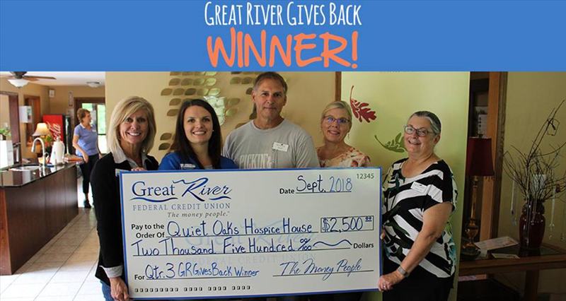 great river federal credit union awards 2500 to quiet oaks hospice house cu social good